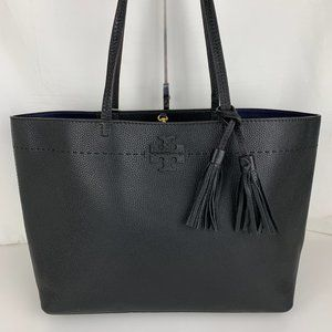 New Tory Burch McGraw Black Leather Tote 42200